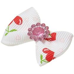 Пет Люкс Бантик  бабочка  (пара) 3,5см*2,5см белый с сердечками - фото 6879
