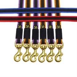 Поводок - перестежка для собак прорезиненный 10*2,60м синий карабин бронза - фото 10494