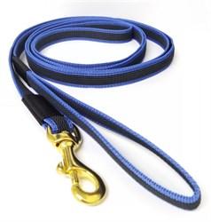 Поводок для собак прорезиненный 20мм*5м синий карабин бронза - фото 13115