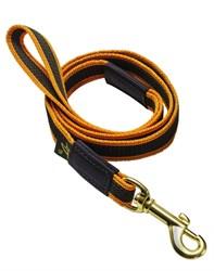Поводок для собак прорезиненный 20мм*5м оранжевый карабин бронза - фото 13123