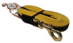 Поводок для собак прорезиненный 20мм*5м желтый карабин бронза - фото 13133