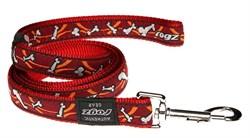 Поводок для собак Rogz ARMED RESPONSE 25мм*120см, красный с косточками - фото 5566