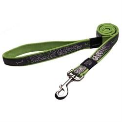 Поводок для собак Rogz BEACH BUM 20мм*140см, зеленый лайм с серым - фото 5576