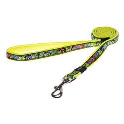 Поводок для собак Rogz SCOOTER 16мм*140см, лайм с цветами - фото 5793