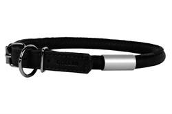 Ошейник для собак WAUDOG Soft круглый с адресником, 10мм*33-41см черный - фото 6086