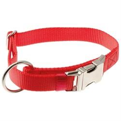 V.I.P Ошейник с большим кольцом с регулировкой красный 20мм 32*45см метал.фастекс - фото 6648