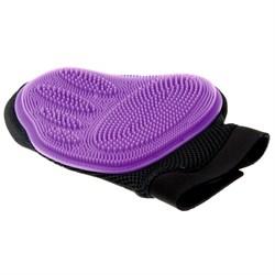 Пет Люкс Рукавица силиконовая на руку большая Фиолетовая 3009 - фото 7135