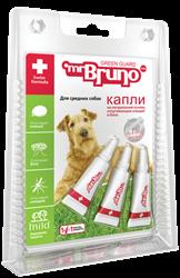 Мистер Бруно Капли репеллентные для средних собак весом 10-30 кг. 3 шт. 2,5 мл. - фото 7260