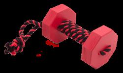 Doglike Апортировочный снаряд  c канатом DUMBBELLDOG WOOD средний 650г дерево красный - фото 8140