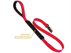 Поводок LEASH POCKET MATIC G25/120 красный с карманом для аксессуаров - фото 9568