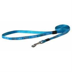 Поводок для собак Rogz BEACH BUM 20мм*140см, лазурный с лапками - фото 9977