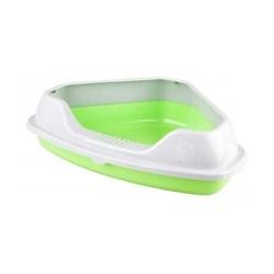 Барсик Лоток угловой с рамкой зеленый - фото 9983